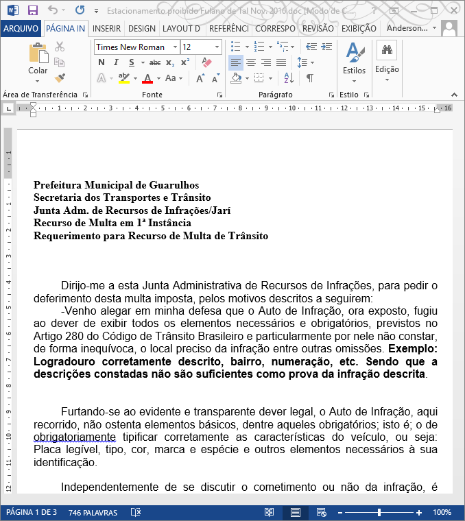 Exemplo de recurso de multa, download do Word